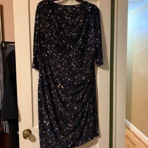 Ralph Lauren Navy blue/tan 3/4 sleeve midi dress